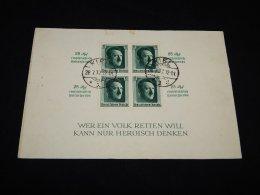 Germany 1937 Kiel Hittler Block In Card__(L-12639) - Covers & Documents