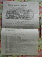 Boeke En Huidekoper, Gröningen - Clayton En Shuttleworth's Prijs (Locomobile) + Liste Acheteurs En Angleterre - 1881 - Pays-Bas