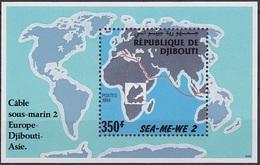 DJIBOUTI  1994 SUBMARINE WIRE INTERNET EUROPE ASIE CABLE SOUS-MARIN Michel Mi. Mi 149 BLOC BLOCK S/S SHEET SEA-ME-WE MNH - Djibouti (1977-...)