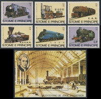 Sao Tomé E Principe 1982 Mi 808 /3 + B113A ** Steam Locomotives / Dampflokomotive / Locomotive à Vapeur - Treinen