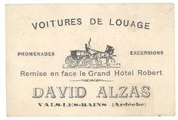 Carte Commerciale Pub : Voitures De Louage, David Alzas, Vals Les Bains ( Ardèche, Diligence ) - Publicités