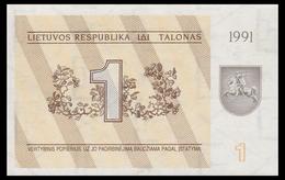 LITHUANIA 1 TALONAS 1991 WITH TEXT Pick 32b Unc - Lithuania