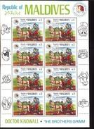 #  M-416   MINT NEVER HINGED MINI SHEET OF DISNEY , GRIMM BROTHERS ,   (  MALDIVES  1148 1985 - Disney