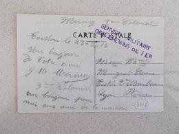 MILITARIA.CARTE POSTALE.TOULON.GUERRE 14/18.TAMPON SERVICE MILITAIRE DES CHEMINS DE FER.1916. - Documents