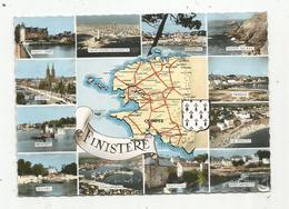Cp, 29 , FINISTERE , Carte Géographique , Voyagée 1961 , Ed. Artaud - Gaby - France