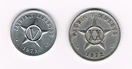 &   CUBA  V + XX   CENTAVOS   1972 - Cuba