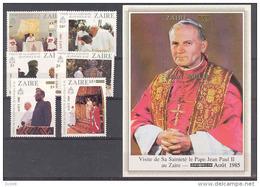 Visite Pope Zaire COB 1275/80+BL60 1985 MNH - 1980-89: Ongebruikt