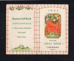 """1951 Calendrier De Poche Parfumé / Parfum  """"Joli Soir"""" De Cheramy / Coiffeur Parfumeur Maurice Capelle Falaise 14 - Calendars"""