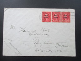 USA Beleg Mit 3er Streifen Und Vorausentwertung Molly Pitcher Nach Pforzheim Baden - Briefe U. Dokumente