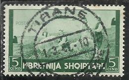 ALBANIA 1940 POSTA AEREA AIR MAIL 5q USATO USED OBLITERE' - Albania