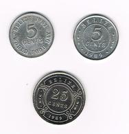 &   BELIZE  2 X 5 CENTS + 25 CENTS  1981/89 - Belize