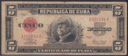 1938-BK-50 CUBA 1938 5 PESOS SILVER CERTIFICATE. CERTIFICADO DE PLATA. - Cuba