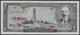 1956-BK-32 CUBA 1956 1 PESO JOSE MARTI. UNC. NUMBER 0000926. - Cuba