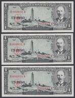1956-BK-33 CUBA 1956 1 PESO JOSE MARTI. CONSECUTIVE UNC PAIR. 0000931-32-33. - Cuba