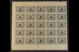 "SCADTA PANAMA 1923 1p Black With ""P"" Consular Overprint (Scott CLP63, SG 33K), Mint (dry Gum) SHEETLET Of 25 (missing Se - Colombia"