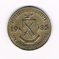 &   GUINEE  10 FRANCS   1985 - Guinée