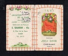 "1951 Calendrier De Poche Parfumé / Parfum  ""Joli Soir"" De Cheramy / Coiffeur Parfumeur "" E. Grandin Fils"" Caen 14 - Calendars"