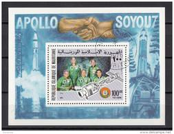 Mauritania 1975 Sc. C159 Apollo Soyuz7 Cosmonauti Space Spazio Foglietto Perf. - FDC & Commemoratives