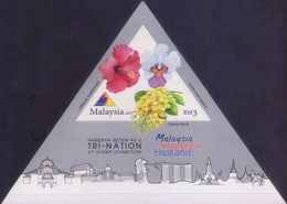 Malaysia 2013 S#1468 Tri-Nation Stamp Exhibition M/S MNH Flora Orchid Unusual (triangle, Silver) - Malesia (1964-...)