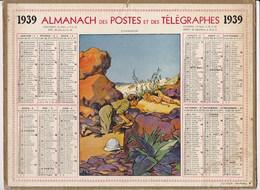Calendrier 1939 Almanach Des Postes Et Des Telegraphes Illustré Chasseur Lion En Afrique + Foire Marché Du Lot - Big : 1941-60