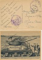 """CHAR TURENNE - FRANCHISE """" GROUPE DE TRANSPORTS 300 """"  - POSTE AUX ARMÉES STRASBOURG 6/7/45 BAS-RHIN - Militares"""