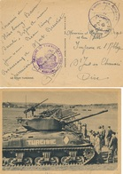 "CHAR TURENNE - FRANCHISE "" GROUPE DE TRANSPORTS 300 ""  - POSTE AUX ARMÉES STRASBOURG 6/7/45 BAS-RHIN - Militaria"