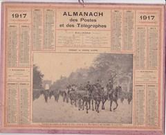 Calendrier 1917 Almanach Des Postes Et Des Télégraphes Illustré Defilé De Poilus Transfert Des Cendres Rouget De L Isle - Calendars