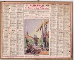 Calendrier 1935  Almanach Des Postes Et Des Télégraphes Illustré Chasseur Et Oiseau Pris Au Piege - Big : 1921-40