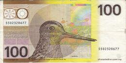 BILLETE DE HOLANDA DE 100 GULDEN DEL AÑO 1977  (BANKNOTE) PAJARO-BIRD - 100 Florín Holandés (gulden)