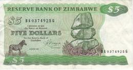 BILLETE DE ZIMBAWE DE 5 DOLLARS DEL AÑO 1983 (BANKNOTE-BANK NOTE) CEBRA-ZEBRA - Zimbabwe