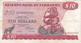 BILLETE DE ZIMBAWE DE 10 DOLLARS DEL AÑO 1983 (BANKNOTE-BANK NOTE) CIERVO-DEER - Zimbabwe
