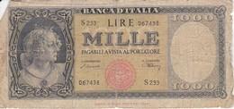 BILLETE DE ITALIA DE 1000 LIRAS DEL 10 DE FEBRERO DE 1948  (BANKNOTE) (RARO) - [ 2] 1946-… : República