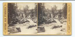PHOTO STEREO Circa 1868 J. ANDRIEU..Voyage Aux Pyrénées. N 74. Pont D'Espagne à CAUTERETS (65) - Fotos Estereoscópicas