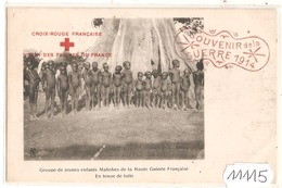 11115  ENFANTS MALINKES EN TENUE DE LUTTE CACHET CROIX ROUGE ET SOUVENIR DE GUERRE 1914   NON VIAGATTA - Guinea Francese