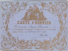 CARTE D'  HONNEUR   ,,,,en TEMOIGNAGE De SAGESSE , APPLICATION Et ASSIDUITE 1895,,,,TBE - Diploma & School Reports