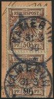 KAMERUN V 50d  Paar BrfStk, 1896, 50 Pf. Lebhaftrötlichbraun Im Senkrechten Paar Auf Postabschnitt, Stempel KAMERUN, Pra - Kolonie: Kamerun