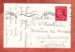 AK Neujahr, EF Wappenloewe, Helsinki Nach Beilstein 1933 (52441) - Storia Postale