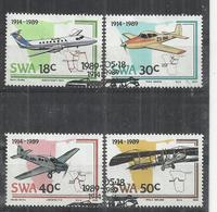 SOUTH WEST AFRICA - SWA 1989 - 75th ANNIVERSARY OF AVIATION INDUSTRY - CPL. SET - USED OBLITERE GESTEMPELT USADO - Avions