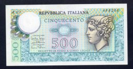 500 Lire Mercurio Serie A 07 - 14/02/74 (quasi FDS/UNC) - [ 2] 1946-… : Républic