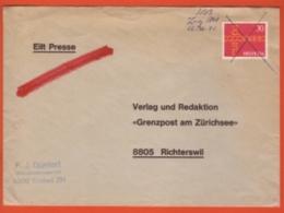 """Lettre """"Exprès"""" Eilt Presse Obl Manuscrite SBB Zug 1707 16.06.1971-> Grenzpost Am Zürichsee - Affr. Europa - Suisse"""