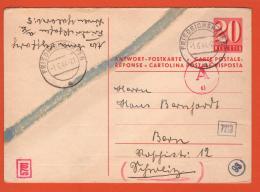 "Entier Postal ""Réponse"" Obl. Friedrichshafen 01.06.1944 -> Berne  - Censure/Censored/ Zensur München D + Chemie - Ganzsachen"