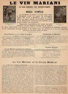 VP12.200 - PARIS - Affichette Publicitaire Concernant Le Vin MARIANI - Advertising