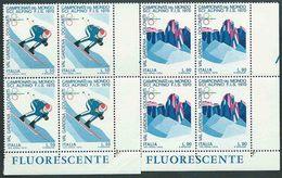 Italia 1970; Campionati Mondiali Di Sci Alpino. Serie Completa In Quartine Di Angolo Inferiore Con FLUORESCENTE. - 6. 1946-.. Repubblica