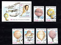Cuba 1983 Mi Nr 2725 - 2730 + Blok 76; 200 Jaar Luchtvaart, Luchtballon, Baloln - Cuba
