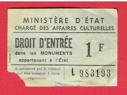 BILLET DROIT D ENTREE 1970 CHATEAU DE PIERREFONDS OISE - Tickets - Vouchers