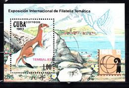 Cuba 1983 Mi Nr Blok 77; TEMBAL '83, Basel, Wezel, Weasel - Gebruikt