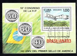 Cuba 1983 Mi Nr Blok 78; BRASILIANA '83, Rio De Janairo, Airplane From Santos Dumont - Cuba