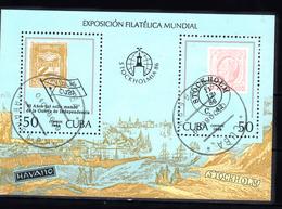 Cuba 1986 Mi Nr Blok 96 ; STOCKHOLMIA '86, Stockholm., Zegel Op Zegel, Stamp On Stamp - Cuba