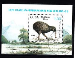 Cuba 1990 Mi Nr Blok 122 ; NEW ZEALAND '90, Auckland: Bird, Kiwi - Cuba
