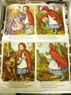 SERIE DE 8 GRANDES CHROMOS EN TISSUS : LE PETIT CHAPERON ROUGE EN ANGLAIS THE RED LTTLE HOOD ENGLAND - Old Paper